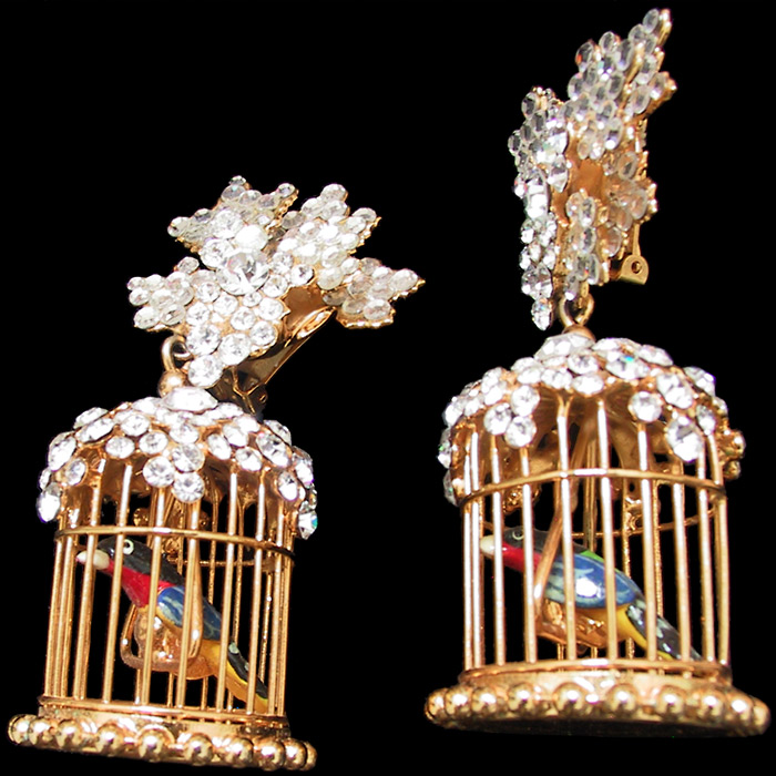Vintage Siman Tu Bird in a Cage Pendant Earrings