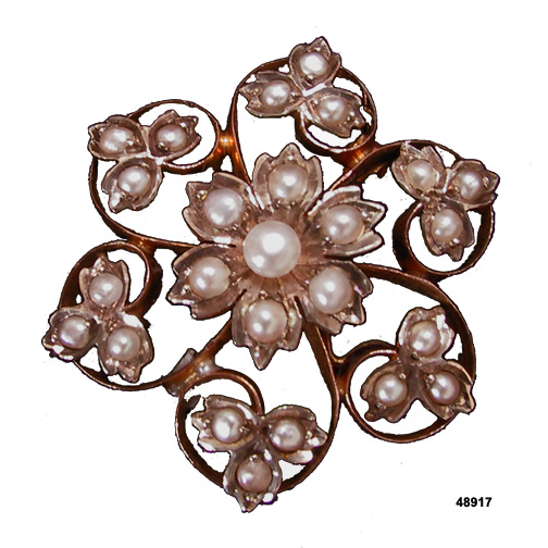 Art Nouveau 14K Gold Forget Me Not Flower Pin/Pendant