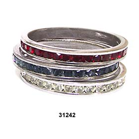 Vintage Silver Plated Rhinestone Rings Red, White & Blue