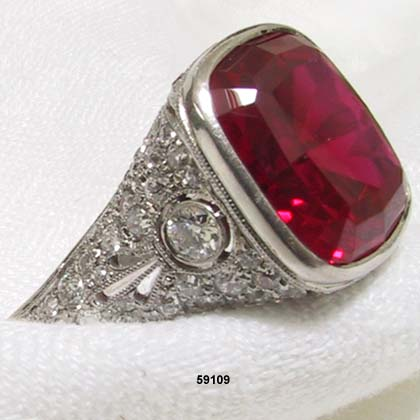Edwardian Platinum, Diamond and Synthetic Ruby Ring at AntiquingOnLine.com :  engagement ring bridal diamond and synthetic ruby ring edwardian platinum ring