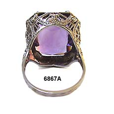 Art Nouveau 18K White Gold and Synthetic Amethyst Ring
