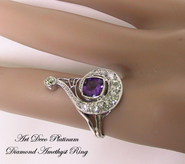 Art Deco Platinum Diamond Amethyst Ring
