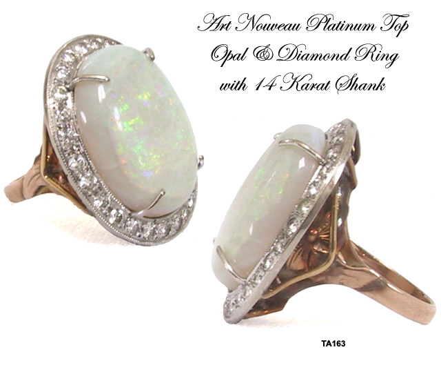 Art Nouveau Opal and Diamond Ring with Platinum Top