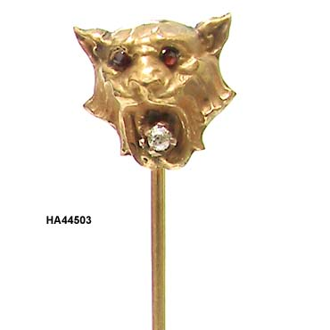 Late Victorian 14K Lion's Head Stick Pin