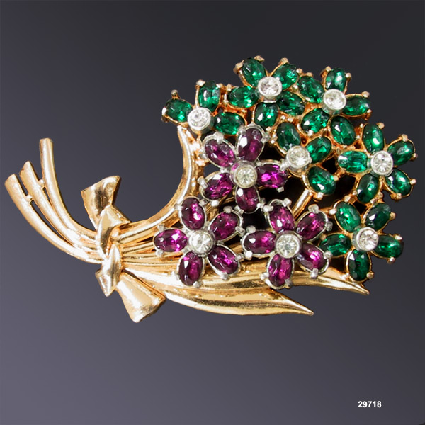 Vintage Purple & Green Gold-Plated Flower Brooch 1930s
