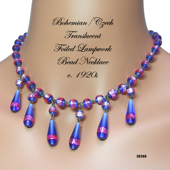 Bohemian/Czech Foiled Lampwork Bead Necklace c. 1920s