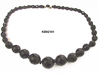 Vintage 1930s Czechoslovakian French Jet Faceted Bead Choker