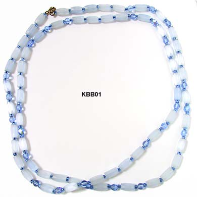 Vintage 1930s Blue Glass Tubular Bead Necklace