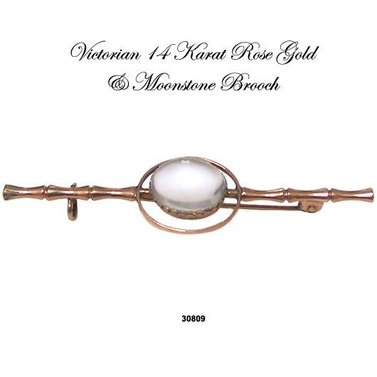 14 Karat Rose Gold Victorian Moonstone Pin