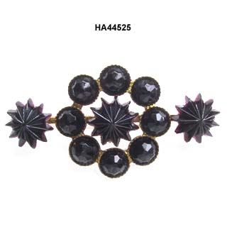 c. 1890 Victorian Black Amethyst Glass Brooch