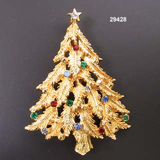 f857f8a0f Vintage JJ Gold Plated Christmas Tree Pin