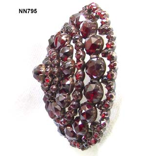 Victorian Bohemian Garnet and Silver Domed Brooch