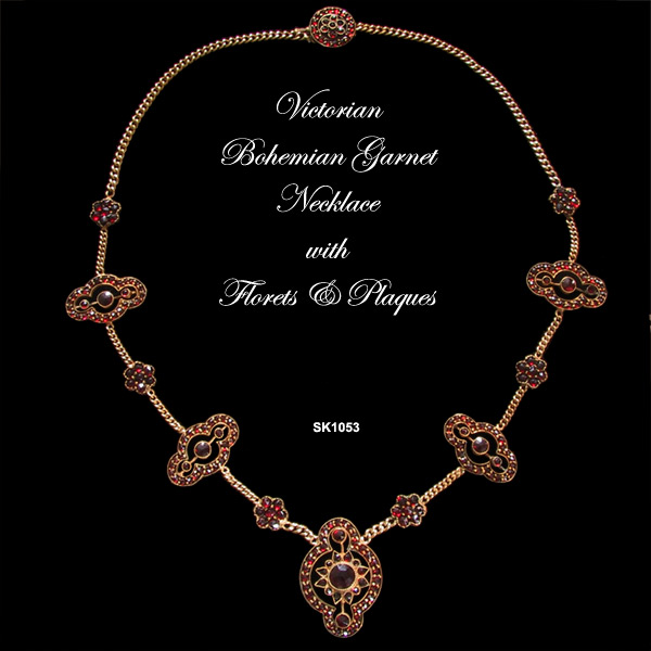 Victorian Bohemian Garnet Necklace with Florets and Plaques