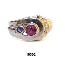 1940's 14K White Gold Blue and Red Sapphire Ring