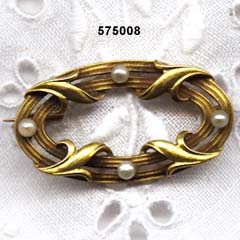 Art Nouveau 14 Karat Gold and Pearl Pin